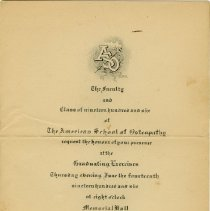 Image of American School of Osteopathy Commencement Invitation