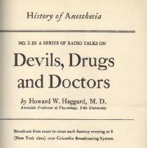 Image of 1997.42 - Devils, Drugs and Doctors: Series of Radio Talks 1-51