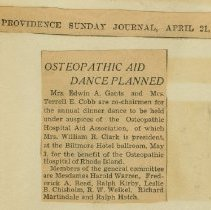 Image of 2004.78 - Osteopathic Aid Dance Planned