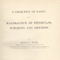 Image of 1997.42 - A Selection of Cases on Malpractice of Physicians Surgeons and Dentists