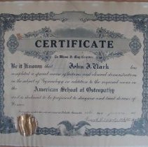Image of 2001.82 - American School of Osteopathy Certificate in Gynecology