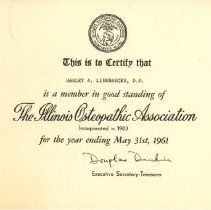 Image of Certificate of the Illinois Osteopathic Association