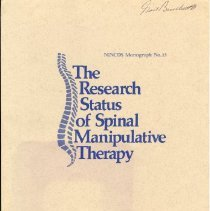 Image of 2011.78 - The Research Status of Spinal Manipulative Therapy NINCDS Monograph No. 15