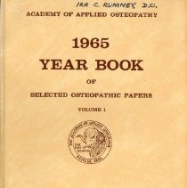 Image of 2011.88 - Academy of Applied Osteopathy 1965 Year Book of Selected Osteopathic Papers Volume 1