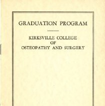 Image of 2011.89 - Kirksville College of Osteopathy and Surgery Commencement Program