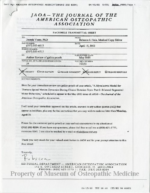 2011 63 facsimile transmittal regarding article submitted to jaoa