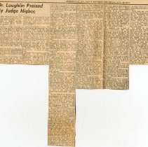 """Image of 2008.33 - Newspaper Clipping """"Dr. Laughlin Praised By Judge Higbee"""""""