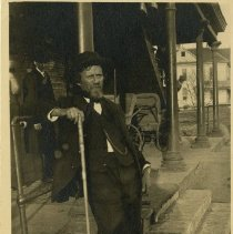 Image of Andrew Taylor Still Postcard Leaning On Pipe Infirmary ca. 1899