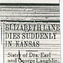 Image of 2008.33 - Elizabeth Lane Dies Suddenly in Kansas Newspaper Clipping
