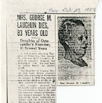 """Image of 2008.33 - """"Mrs. George M. Laughlin Dies, 83 Years Old"""" Newspaper Clipping"""