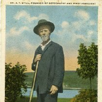Image of 2010.02 - Colorized Postcard of AT Still with Walking Stick