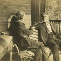 Image of 1980.388 - Andrew Taylor Still Talking with Elbert Hubbard on his Front Porch ca. 1912
