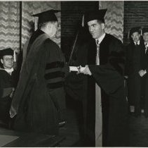 Image of 1980.429 - Dr. A.C. Hardy presenting diploma to unidentified student 1949 Jun