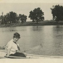 Image of 1981.534 - Jennie Chase DO on boat at Owensby Lake
