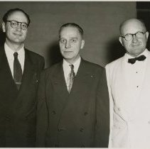 Image of 1983.829 - Morris Thompson, Donald Hampton DO & C. Robert Starks DO at 1953 Kirksville College of Osteopathy & Surgery commencement banquet