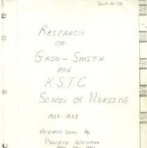 Image of Research on Grim Smith Hospital and KSTC School of Nursing