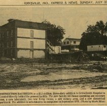 Image of Newspaper clipping and enlarged reproduction of construction to Grim-Smith