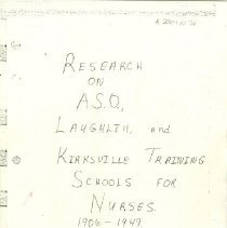 Image of Research on A.S.O., Laughlin, and Kirksville Training Schools of Nurses 190