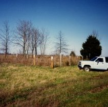 Image of 1991.1347 - Truck parked outside of Still Cemetery in Macon County, Missouri