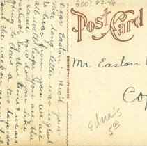 Image of Addressed postcard on reverse side of ASO school & building postcard