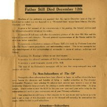 Image of Notice of Still's death in Osteopathic Physician ca. 1917 Dec 12