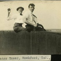 Image of 2007.63 - Two men on top of watertower in Rockford, Indiana