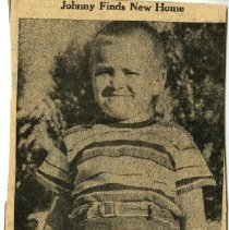 Image of Johnny Finds New Home newspaper clipping ca. 1951
