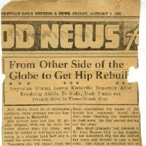 Image of From Other Side of the Globe to Get Hip rebuilt article 1935 Jan 4