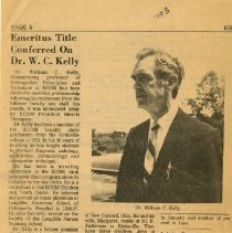 Image of Newspaper clipping on Kelly receiving emeritus title 1973