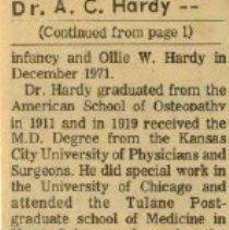 Image of Continuation of Arthur C. Hardy obituary 1972 Jan 9