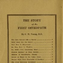 Image of Table of contents of Story of First Osteopath book 1924