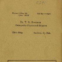 Image of Back cover of First Osteopath pamphlet 1924