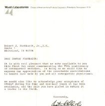 Image of Letter to Pickhardt Sr. from Justin M. McCarthy & Wyeth Lab 1972 Oct 9