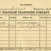 Image of Franklin Telephone Company invoice to Pickhardt Sr. 1915 Oct