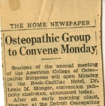 Image of 2006.70 - Osteopathic Group to Convene Monday