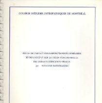 Image of 2009.65 - Étude de l'Impact des Dysfonctions du Sphénoïde et de l'Occiput sur la Vision Fonctionnelle des Enfants Déficients Visuels