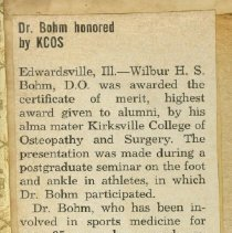 Image of Dr. Bohm Honored