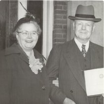 Image of 2012.01 - William G. and Adah Sutherland in formal wear outside building