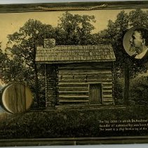 Image of 1983.849 - Plaque with photograph and encapsulated bubble of wooden piece of Still Cabin