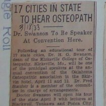 Image of 2004.267 - 17 Cities in State to Hear Osteopaths