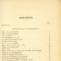 Image of Page 1 of table of contents of Osteopathy Research Practice 1910
