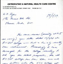 Image of 2012.95 - Letter from Alan Grifitths to W.P. Ryan