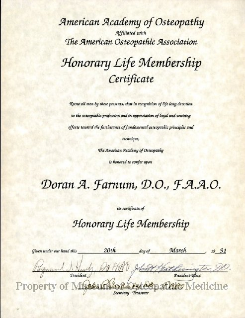 2014.08 - Honorary Life Membership Certificate