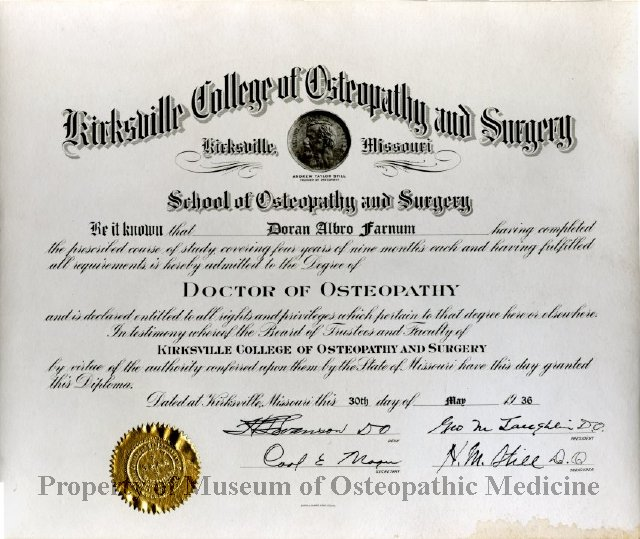 2014 08 - Doctor of Osteopathy Diploma