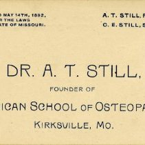 Image of 1985.1083 - Dr. A. T. Still Business Card
