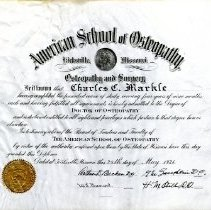 Image of ASO Diploma for Charles Markle