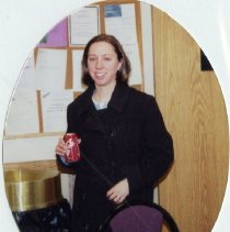 Image of 2011.98 - Jill King Holding a Drink at Bunko Night