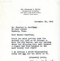Image of 2009.61 - Letter to Charles Kauffman from Charles Smith