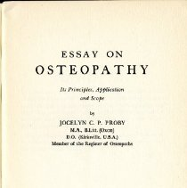 Image of Essay on Osteopathy Its Principles, Application and Scope