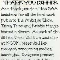 Image of 2011.98 - Thank You Dinner